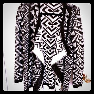 Pink Rose Black & white Aztec print cardigan